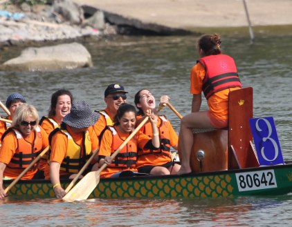 Happy dragon boat paddlers